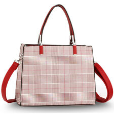 LeahWard Women's Check Tartan Tote Bags Ladies Handbag For School Holiday Work