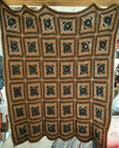 """HANDMADE CROCHET Knit AFGHAN Rose FLOWER Quilt COUCH Lap THROW BLANKET 57"""" x 84"""""""