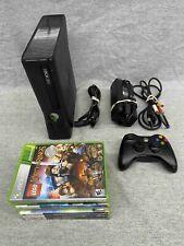 Microsoft Xbox 360 S Black Console w/ Cords & Games 293 Gb