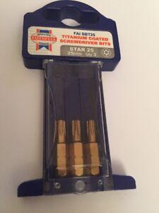 Faithfull Star 25 25mm Driver Bits T25 X 3