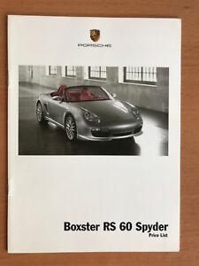 Porsche Boxster RS SPYDER Price List 2007