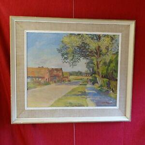 Original oil painting Hertfordshire Lane Faith Sheppard (1920 - 2004) framed