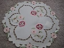 """Doily 15""""  round Rose flower decor  embroidered lace embroidery"""