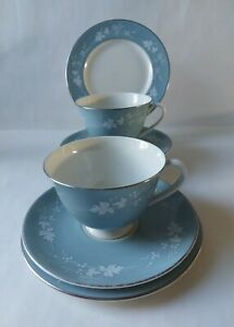 """Royal Doulton ~ """"Reflection"""" Pattern Set of 2 Tea Trio's ~ Cups, Saucers, Plates"""