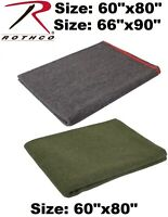 """Grey Or Olive Drab Military Style Wool Emergency Rescue 60""""x80"""" Survival Blanket"""