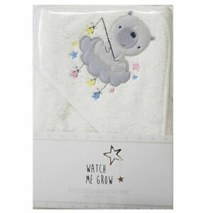 Baby Bear Boys Girls Hooded Towel White Grey Bath Robe Shower Wrap Newborn