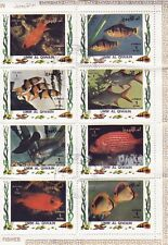 Bloc 8 timbres First Day Premier Jour Umm Al Qiwain Poissons
