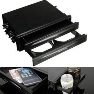 Universal Black Car Double Din Dash Radio Pocket Drink Bottle Cup Holder Box