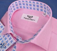 Pink Herringbone Formal Business Dress Shirt Double or Button Cuff Spread Collar