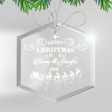 Personalized Glass Christmas Ornament -Engraved Seasonal Holiday Gift For Family