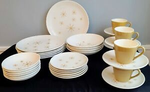 Star Glow Dinnerware Set, Service for 6, Royal China, Mid-Century Modern, Atomic