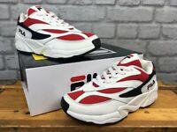 FILA LADIES UK 4 EU 37 VENOM 94 LOW WHITE AND RED TRAINERS