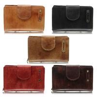 RFID Damen Leder Geldbörse Damen Portemonnaie mit Riegel handpoliert jejo-bags