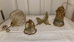 Lot of 4 Christmas Ornaments Gold Colored Santa, Bell, Butterfly & Santa