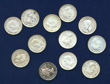 CANADA GEORGE VI  10 CENTS SILVER COINS, 1940, 1941, 1943, 1946,.., LOT OF (12)