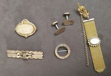Pin Brooch Cufflinks Watch Fob Lot Old Victorian Gold Filled Shell Engraved Bar