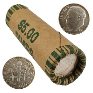 [Lot of 50] Roosevelt Dimes (Roll) 1946-1964 90% Silver