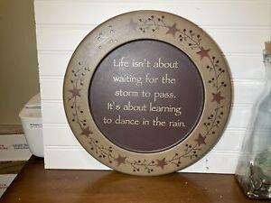 "Country Primitive Decorative Heavy Wooden Plate ""dance In The Rain"" Stars/vines"