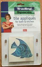 8 Blue Mosaic Fish Tile Appliqués/ Decals Bath/Kitchen Removable & Reusable Nip