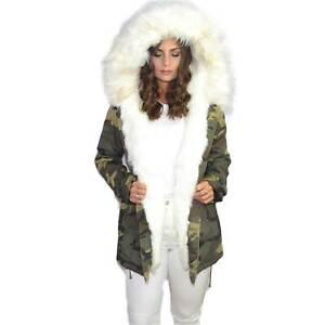 Parka donna mimetico con pelliccia colorata bianco voluminosa glamour