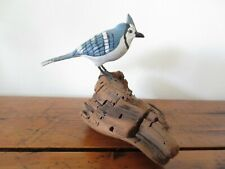 Vintage Bird Carving / L Beckstead / Primitive / Miniature Blue Jay / Early 1900