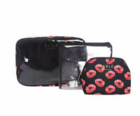3 PIECE SET PERFECT POPPY MAKE UP BAG TOILETRY BAG  COSMETIC BAG GREAT GIFT IDEA