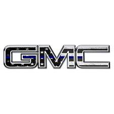 07-17 GMC Sierra Yukon THIN BLUE AMERICAN FLAG Front & Rear Emblem Overlay Decal