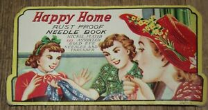 Good++ 1940s-50s Happy Home Rust Proof Needle Book Nickel Plated Gold Eyes  L