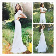 Simple Lace White Ivory Beach Wedding Dress 2018 Long Custom Bridal Gown 6 8 10+