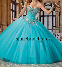 Sweet 15 16 Quinceanera Dresses Crystals Prom Party Formal Ball Wedding Gowns