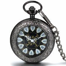 Steampunk Mechanical Skeleton Pocket Watch Retro Carved Transparent Hand-Winding