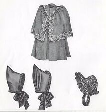 "16""ANTIQUE GERMAN/FRENCH BRU DOLL@1890-'00 CAPE-COAT&2 HAT VARIATIONS PATTERN"