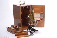 ✅ LEITZ LEICA ANTIQUE BRASS MICROSCOPE COMPOUND C. 1900