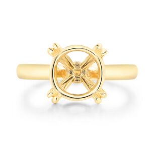 Round 10mm Solid 10K Yellow Gold Ladys Engagement without Stones Semi Mount Ring