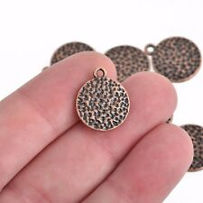 10 COPPER Hammered Metal Coin Sequin Charms, Round Dot Charms, 15mm, chs3308