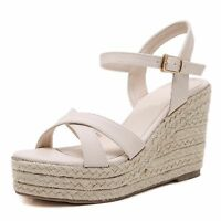Women Boho Jute-Rope Wedge Heel High Platform Open Toe Shoes Peep Sandals