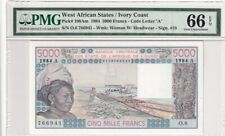 1984 West African States/Ivory Coast 5000 Francs P-108Am PMG 66 EPQ Gem UNC