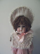 BONNET & COLLAR pink or blue for Antqiue Doll fancy lace VGC