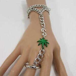 Women Marijuana Leaf Money Bracelet Hand Chain Slave Ring Black Silver Gold $