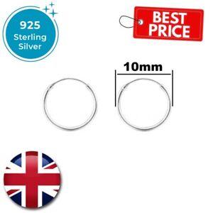 Real 925 Sterling Silver Hoop Earrings 10mm 20mm 30mm sleeper set stud ring pair