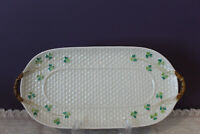 IRISH BELLEEK BASKET WEAVE SHAMROCK DOUBLE HANDLED SERVING TRAY 3RD BLACK