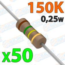 Resistencia 150K ohm 0,25w ±5% 300v - Lote 50 unidades - Electronica Arduino DIY
