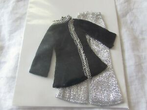 1960s silver bells fashion DOLL CLOTHES Barbie clone 2 pc bell bottom pants+ top