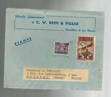 1946 San Marino Stamp Dealer Cover to France Philatelic