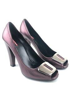PRADA Linea Rossa Metallic Purple Leather Peep Toe Heels UK 6 | EUR 39 | US 8