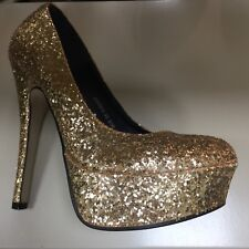 Ladies Shoes Size 6 Gold Glitter NEW LOOK High Platform Stiletto Party