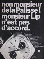 PUBLICITÉ DE PRESSE 1968 NON MONSIEUR DE LA PALISSE LIP N'EST PAS D'ACCORD