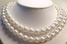 10mm White South Sea Shell Pearl Necklace AAA Grade, Gemstone 36 inch