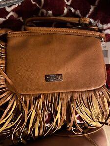 Carlos Santana Tan Pebbled Faux Leather Fringed Boho Wristlet Clutch Bag