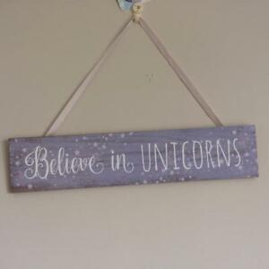 LILAC AND PINK UNICORN  HANGING SIGN Believe in Unicorns
